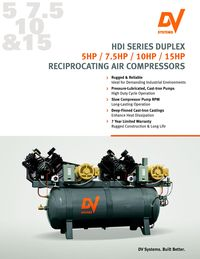 DV SYSTEMS, HDI DUPLEX SERIES RECIPROCATING AIR COMPRESSOR LITERATURE