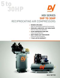 DV SYSTEMS, HDI SERIES 5HP TO 30HP RECIPROCATING AIR COMPRESSOR LITERATURE