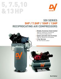 DV SYSTEMS, SDI SERIES RECIPROCATING AIR COMPRESSORS LITERATURE
