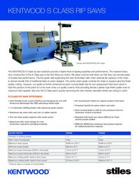 S Class Rip Saws Sell Sheet - 2016